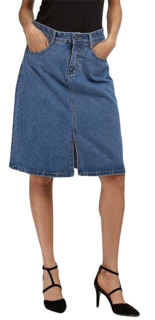 Joe Wenko JWK Womens Basic Plus Size Stretch Bodycon Slit High Rise Denim Skirts