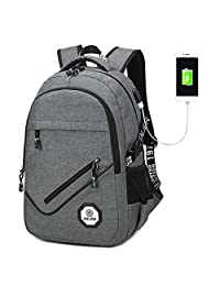 USB Charging Port Backpack Water Resistant Travel College Schoolbag Computer Rucksack for 15.6-Inch Laptop and note book (Grey)