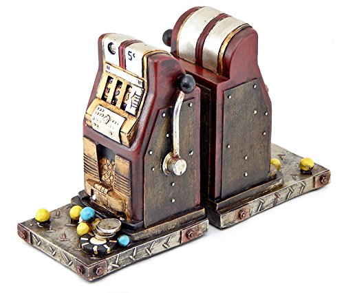 Decorative Bookends Old Style Las Vegas Slot Machine Book Ends 5 Cents