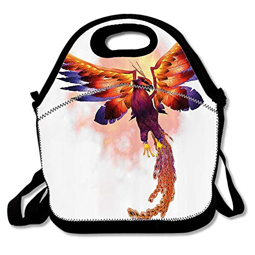 The Phoenix Firebird With Large Wings Illustration Mythical Symbol Print Insulated Lunch Tote Bento Box Organizer with Zipper Pocket Adjustable Shoulder Strap Outdoor Travel Picnic