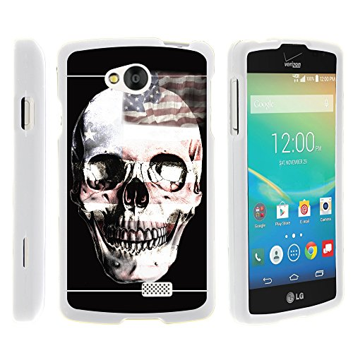 LG Tribute , Slim Sleek Plastic Case Hard + Screen Protector + Stylus Pen White LG Transpyre , Optimus F60 by MINITURTLE - USA Skull
