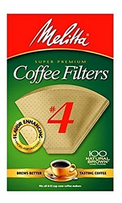 Melitta Cone Coffee Filters, Natural Brown #4, 100 Count