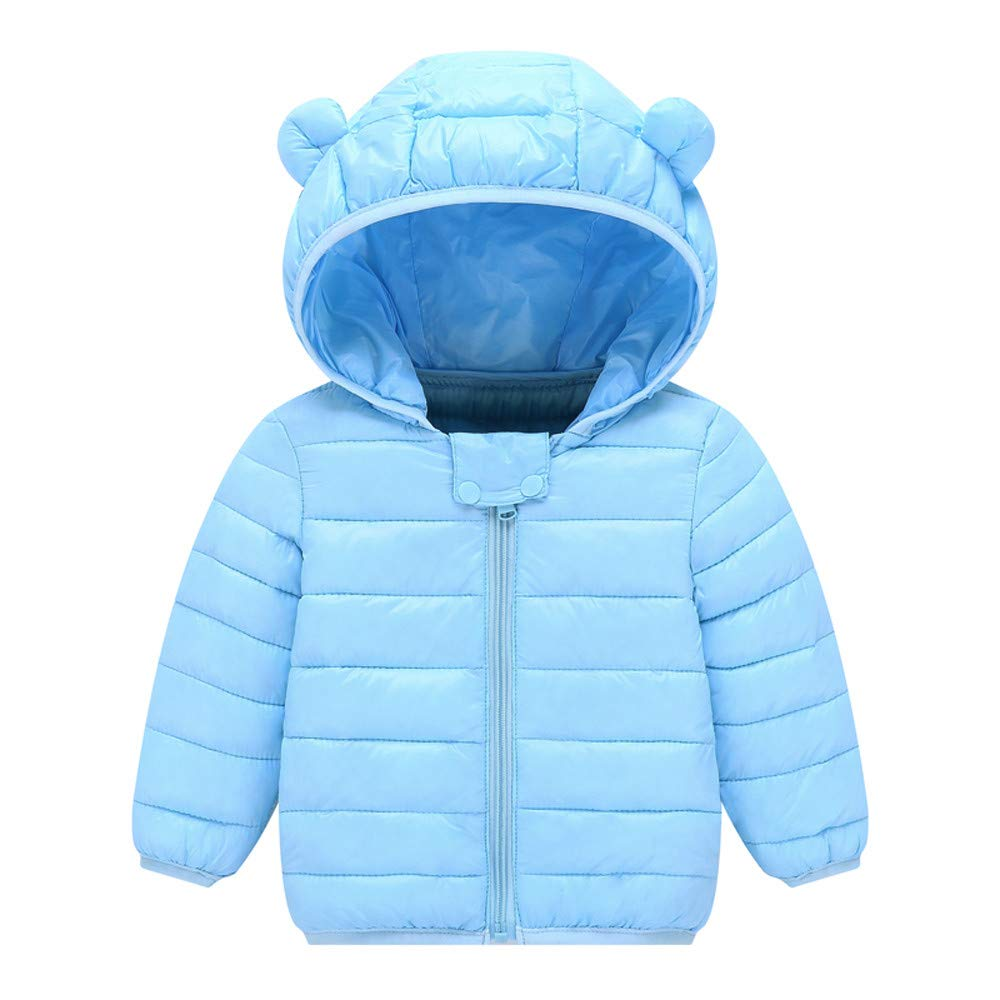 WARMSHOP Kids Baby Boys Girls Down Coat,Long Sleeve Solid Lightweight Cartoon Ear Zipper Hooded Warm Jacket Snowsuit China