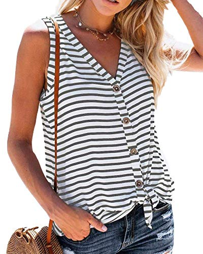 (Daomumen Womens Summer V Neck Blouses Button Up Shirts Tie Knot Front Tank Tops )