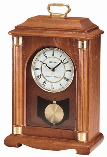 Case Clock (Seiko Mantel Chime with Pendulum Carriage Clock Dark Brown Solid Oak Case Metal Accents)