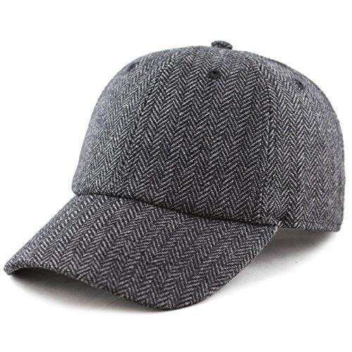 Blend Baseball - The Hat Depot Unisex Wool Blend Baseball Cap Hat (Black Herringbone)