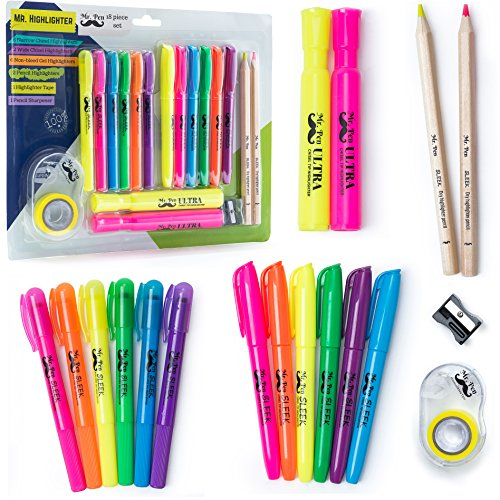Mr. Pen- 18 Pc Highlighter Set, 6 Gel Bible Highlighter Non Bleed Assorted Color, 6 Narrow Highlighter, 2 Wide Highlighter, 2 Highlighter Pencil, Highlighter for Journaling, Bible Supplies, Study Kit