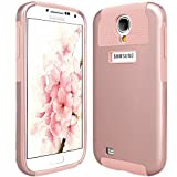 Galaxy S4 Case, S4 Case, ULAK Slim 2in1 Hybrid Dual Layer Fit Protective Case Cover for Samsung Galaxy S4,Galaxy SIV,Galaxy S IV,Galaxy i9500 / Plastic Hard Shell and Rugged TPU- Rose Gold