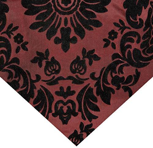 Ben Textiles Flocked Damask Taffetta Burgundy/Black, ()