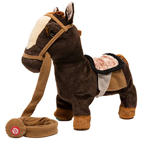 (iBonny Stuffed Animal Plush Pony Toy My First Pony Walk Along Toy Realistic Walking Actions with Horse Sounds and Music Brown)