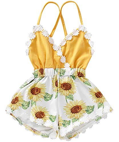 Toddler Baby Girl Halter One-Piece Romper Infant Outfit Sunsuit Summer Clothes Shorts Jumpsuit (6-12 Months, Yellow # Sunflower) - Fur Halter Skirt