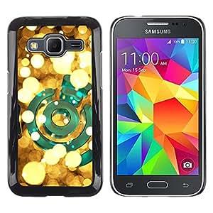Caucho caso de Shell duro de la cubierta de accesorios de protección BY RAYDREAMMM - Samsung Galaxy Core Prime SM-G360 - Green Bright Golden Night