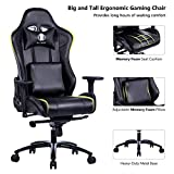 KILLABEE Big and Tall Metal Base Gaming Chair – Ergonomic Leather Racing Computer Chair High-Back Office Desk Chair with Adjustable Memory Foam Lumbar Support and Headrest, Black Review