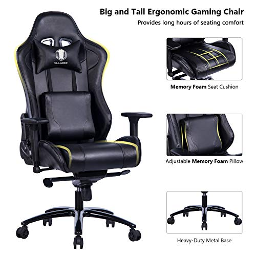 KILLABEE Big and Tall Metal Base Gaming Chair – Ergonomic Leather Racing Computer Chair High-Back Office Desk Chair with Adjustable Memory Foam Lumbar Support and Headrest, Black