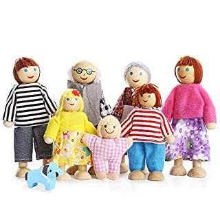 PUCKWAY Lovely Happy Family Dolls Playset Wooden Figures Set of 7 People with Dog for Kids Children Toddlers Dollhouse Pretend Gift