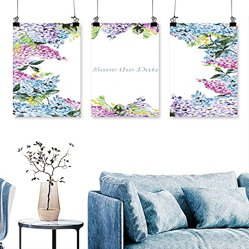 SCOCICI1588 3-Piece Modern Frame lila Mimosa postcar Invitation to Hang for Living Room No Frame 30 INCH X 47 INCH X 3PCS -