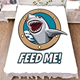 Bed Skirt Cover 3D Print,Quote with Hungry Hound Shark Head in Ship Window,Best Modern Style Bed Skirt for Men and Women by 70.9''x94.5''