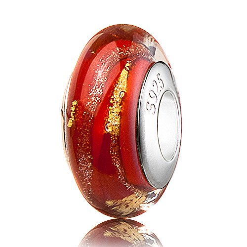 ATHENAIE Murano Glass 925 Sterling Silver Red 18K Gold Foil Charms Bead for Bracelet ()