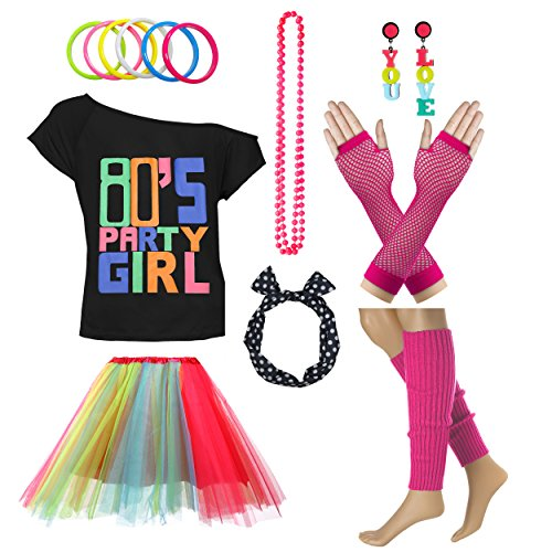 80's Party Girl Retro Costume Accessories Outfit Dress for 1980s Theme Party Supplies (M/L, Rainbow) for $<!--$27.90-->