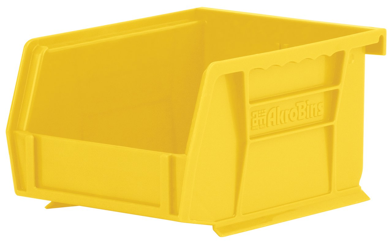 Akro-Mils 30210 Plastic Storage Stacking Hanging Akro Bin, 5-Inch by 4-Inch by 3-Inch, Yellow, Case of 24 by Akro-Mils
