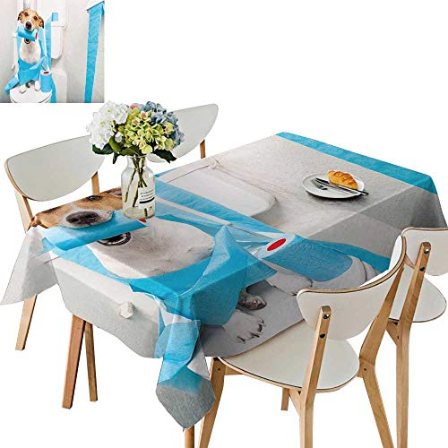 UHOO2018 Polyester Fabric Tablecloth Square/Rectangle Jack Russell Terrier, sitt on a Toilet seat Digestion Problems Summer & Outdoor Picnics,54 x122inch.