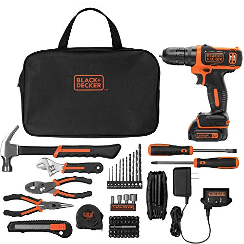 Black & Decker 12V Lithium Ion Cordless Drill 64-Piece Pr...