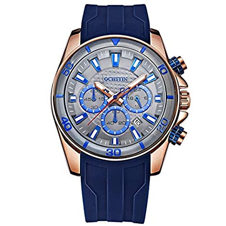 Ochstin Business Casual Full Chronograph Blue Silicon Strap