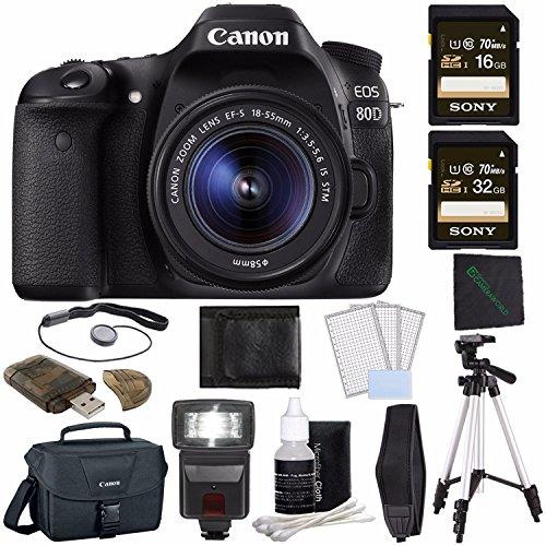 Canon EOS 80D DSLR Camera with 18-55mm Lens + Sony 16GB SDHC Card + Sony 32GB SDHC Card + Tripod + Flash + Canon EOS Shoulder Bag 100ES + Card Reader + Cloth + Camera Neck Strap Bundle -  GreensCameraWorld, 1263C005--1