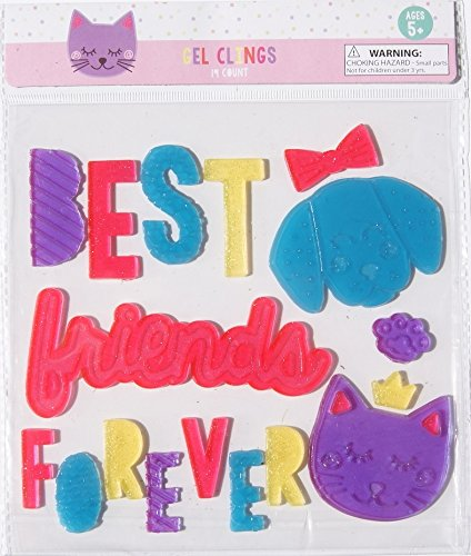 Kids Cat and Dog Window Decor Gel Clings - Best Friends Forever - 19 Piece (Dogs And Cats Best Friends)