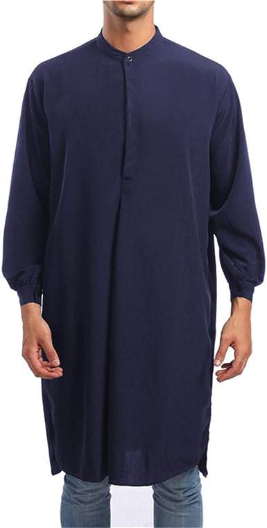SXZG Moda Simple Camisa Larga Camisa de Hombre Estilo Árabe Batas Musulmanas: Amazon.es: Ropa y accesorios