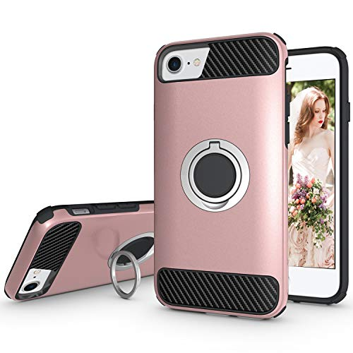 Ownest Compatible with iPhone 7 Case,iPhone 8 Case,iPhone 6 Case with Armor Dual with Heavy Duty Protection and Finger Ring Kickstand Fit Magnetic Car Mount for iPhone 7,iPhone 8-Rose Gold