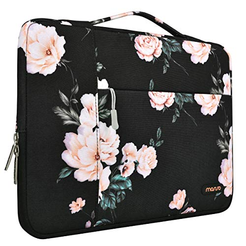 (MOSISO Laptop Sleeve Briefcase Handbag Compatible 15-15.6 Inch MacBook Pro, Notebook Computer, Polyester Multifunctional Carrying Case Protective Bag Cover, Black Base Peony)