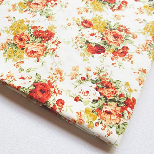 English Rose in The Garden Vintage Cotton with Orange Rose Bouquet Wedding Flower Bunch on White Fabric 36 by 36-Inch Wide (1 Yard) (CT734)