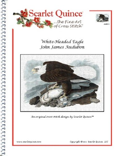 Scarlet Quince AUD011 White-Headed Eagle by John James Audubon Counted Cross Stitch Chart, Regular Size Symbols White Headed Eagle