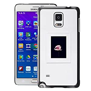 A-type Arte & diseño plástico duro Fundas Cover Cubre Hard Case Cover para Samsung Galaxy Note 4 (Frame Spring Photo Flower Floral Grey)