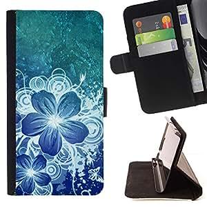 Momo Phone Case / Flip Funda de Cuero Case Cover - Arte del pétalo de la flor de hielo - LG Nexus 5 D820 D821