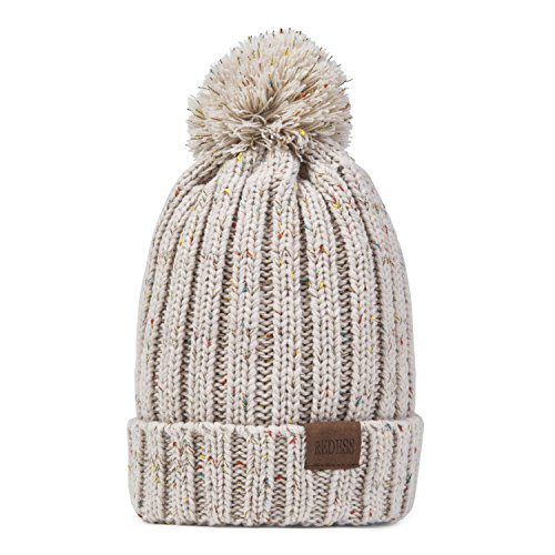 REDESS Women Winter Pom Pom Beanie Hat with Warm Fleece Lined, Thick Slouchy Snow Knit Skull Ski Cap (beige2) ()