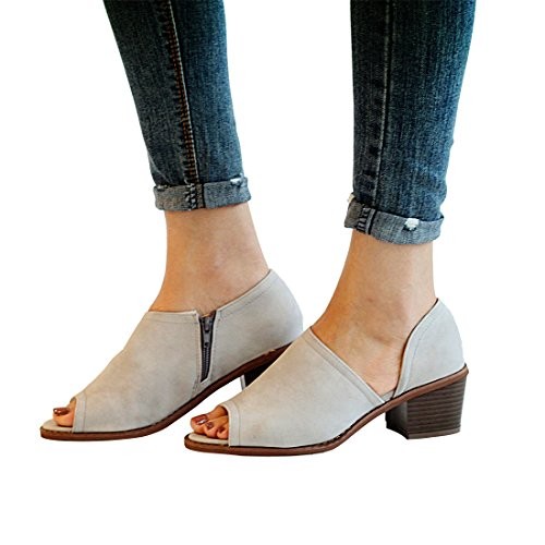Chunky peep Shoes Boots Toe on Cut Heel Heeled Women's Gray Out Block Low Ankle MORNISN Sandals Slip ZnWBgtf