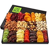Oh! Nuts Mothers Day Gift Baskets - XL 18 Variety Nut & Dried Fruit Basket Gourmet Easter Holiday Family Sympathy Gifts - Prime Delivery Food Snack Set Unique Ideas for Fathers Birthday, Men & Women