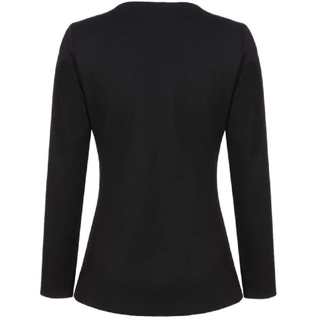 YUNY Womens Fashion Outwear Cardigan Small Blazer Coat Crewneck Jacket Black XS