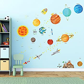 Decowall da 1501 the solar system kids wall stickers wall decals peel and stick removable