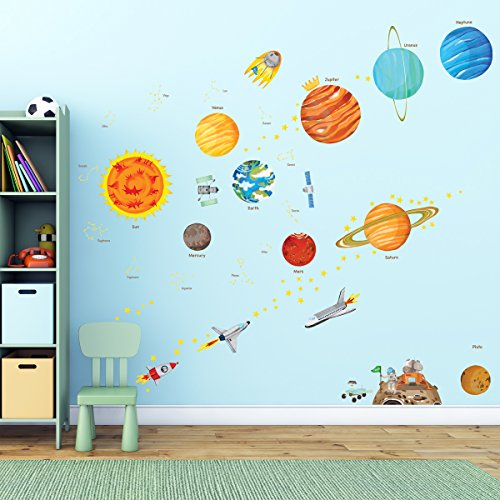 Cheap  Decowall DA-1501 The Solar System Kids Wall Stickers Wall Decals Peel and..