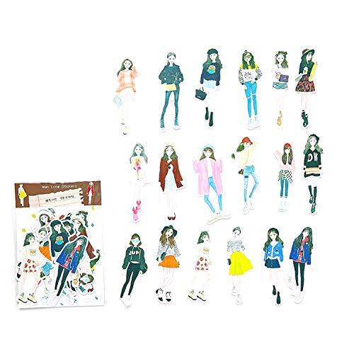 DIY Decorative Sticker, Sweet Girl Sticker Washi Sticker for Diary Album Notebook Scrapbook Life Log Cute Stationery Sticker, Pack of 18pc (3#)
