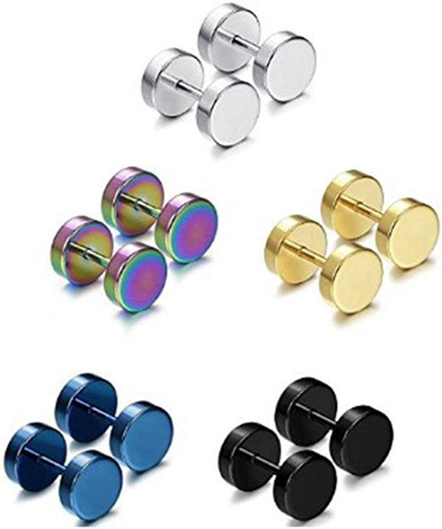 5 Pairs Stainless Steel Mens Womens Stud Earrings Set Faux Gauges Ear Piercing Plugs Tunnel,7mm-12mm