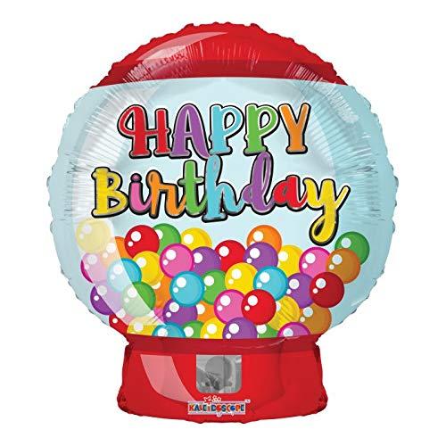 Happy Birthday Bubble Gum Machine 18'' Mylar Balloon Birthday Party Decorations - Gum Bubble Ribbon