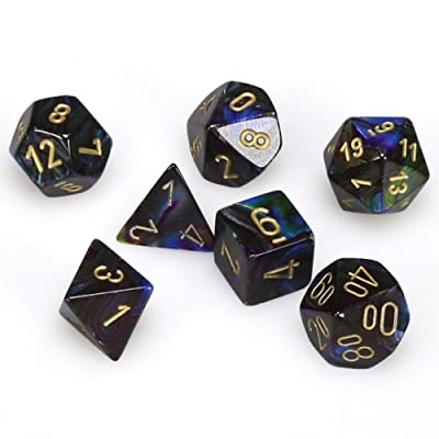 Chessex CHX27499 Dice-Lustrous Shadow/Gold Set: Toys & Games