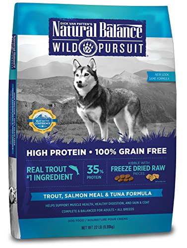 Natural Balance Wild Pursuit High Protein Grain Free Dry Dog Food, Trout, Salmon Meal & Tuna Formula, 22-Pound by Natural Balance