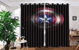vanfan 2 Panel Set Digital Printed Blackout Window Curtains for Bedroom Living Room Dining Room Kids Youth Room Window Drapes(W84 x L63,Captain America Shield)