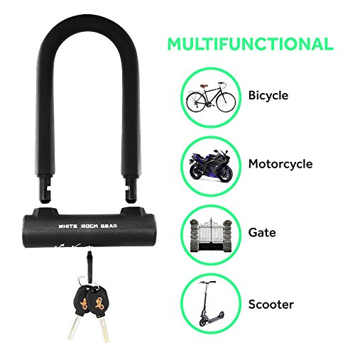 White Rock Gear Bike U Lock and Cable - Heavy Duty 16mm Bicycle Lock with 45'' Steel Flex Cable and 3 Keys + Mounting Bracket - Durable and Anti-Theft by White Rock Gear (Image #6)