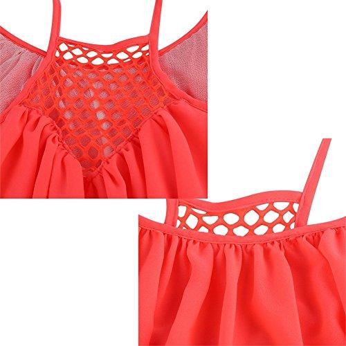 Manches Fluorescent Robe Soie rouge Sexy Nuit Robe de t Sans Mousseline Robe Casual de Jaune XL Courte Femme Plage aBRq0A